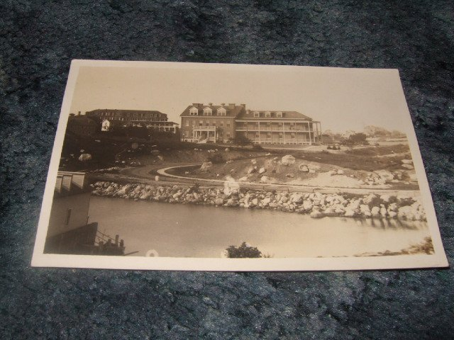 Black And White Buildings/River Scene Real Photo Postcard 1910's?