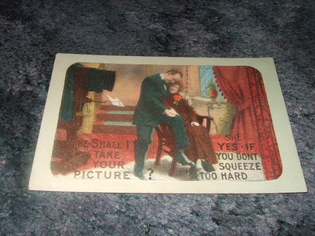 Shall I Take Your Picture? 1910's Color Postcard