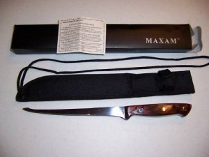 Maxam Genuine Pakka Wood Handle Fillet Knife W/420 S/S Blade