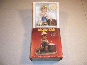Vintage Bisque Kids Puppy Love Hand-Painted Porcelain Sculpture w/Votive Candle
