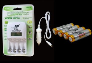 Fantasma Smart 1hr Fast AA/AAA Car Charger + 4*2000mAh AA Ni-MH Recharge Battery