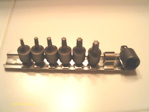 "NEW 7pc TORX BIT SET T-10-15-20-25-27-30~1/4"" drive INCLUDES 1 PC ADAPTER & RACK"