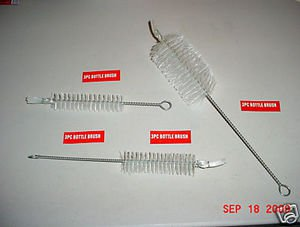 NEW~3 PIECE BOTTLE/CLEANING TUBE BRUSH SET~clear nylon FREE SHIPPING within USA