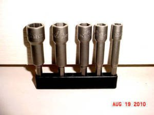 "New 5pc MAGNETIC 3"" NUT DRIVER W/FLAT EDGE 1/4 5/16 7/16 3/8 1/2~FREE SHIPPING"