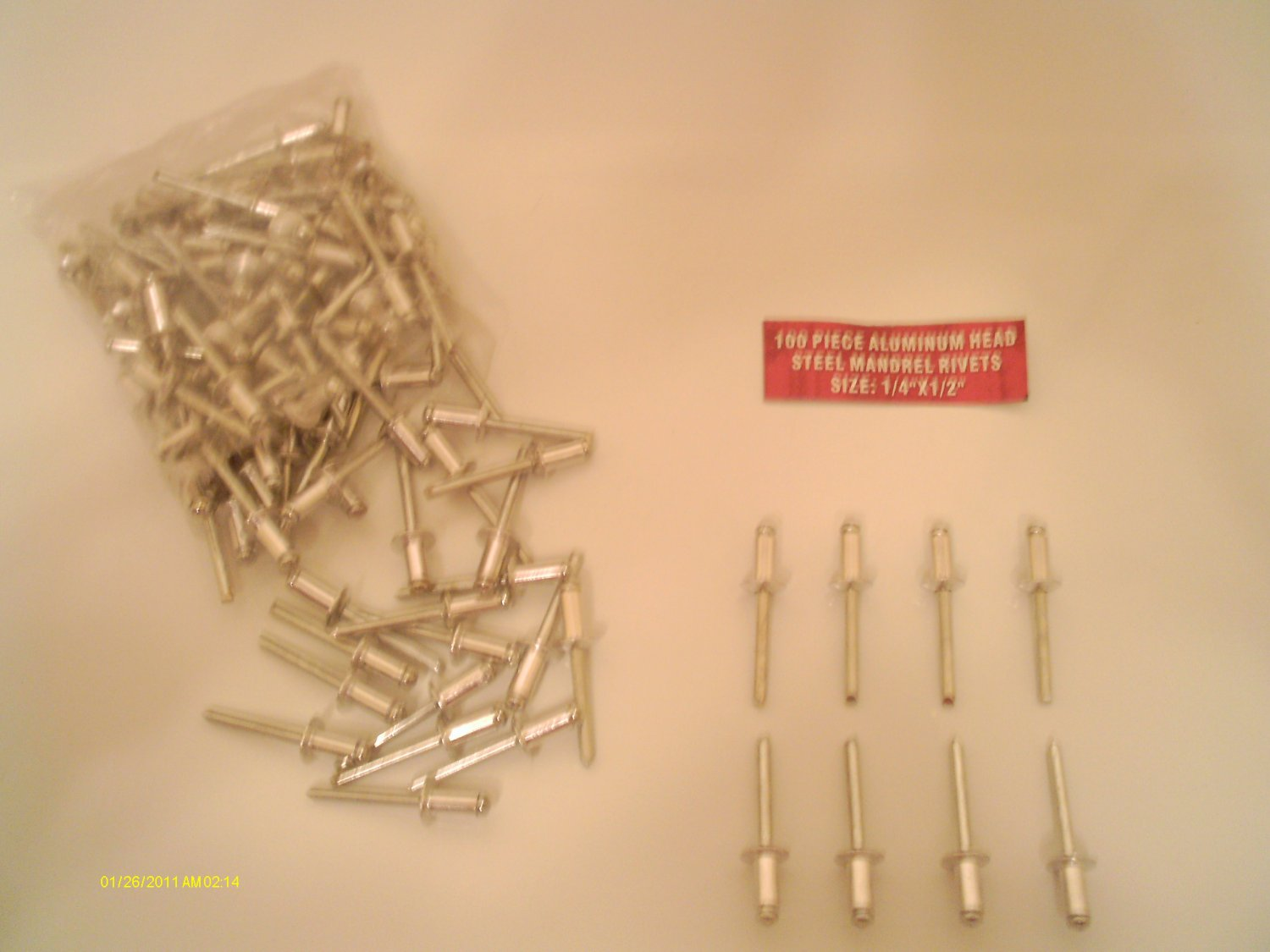 "New ALUMINUM POP RIVETS /steel mand 100 pcs 1/4"" x 1/2"" FREE SHIPPING within USA"