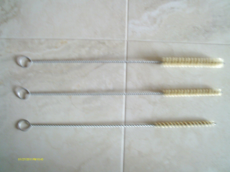NEW~3 PC BOTTLE/CLEANING TUBE BRUSH SET~HOG HAIR~3 DIFFERENT DIAMETER SIZES~BIN