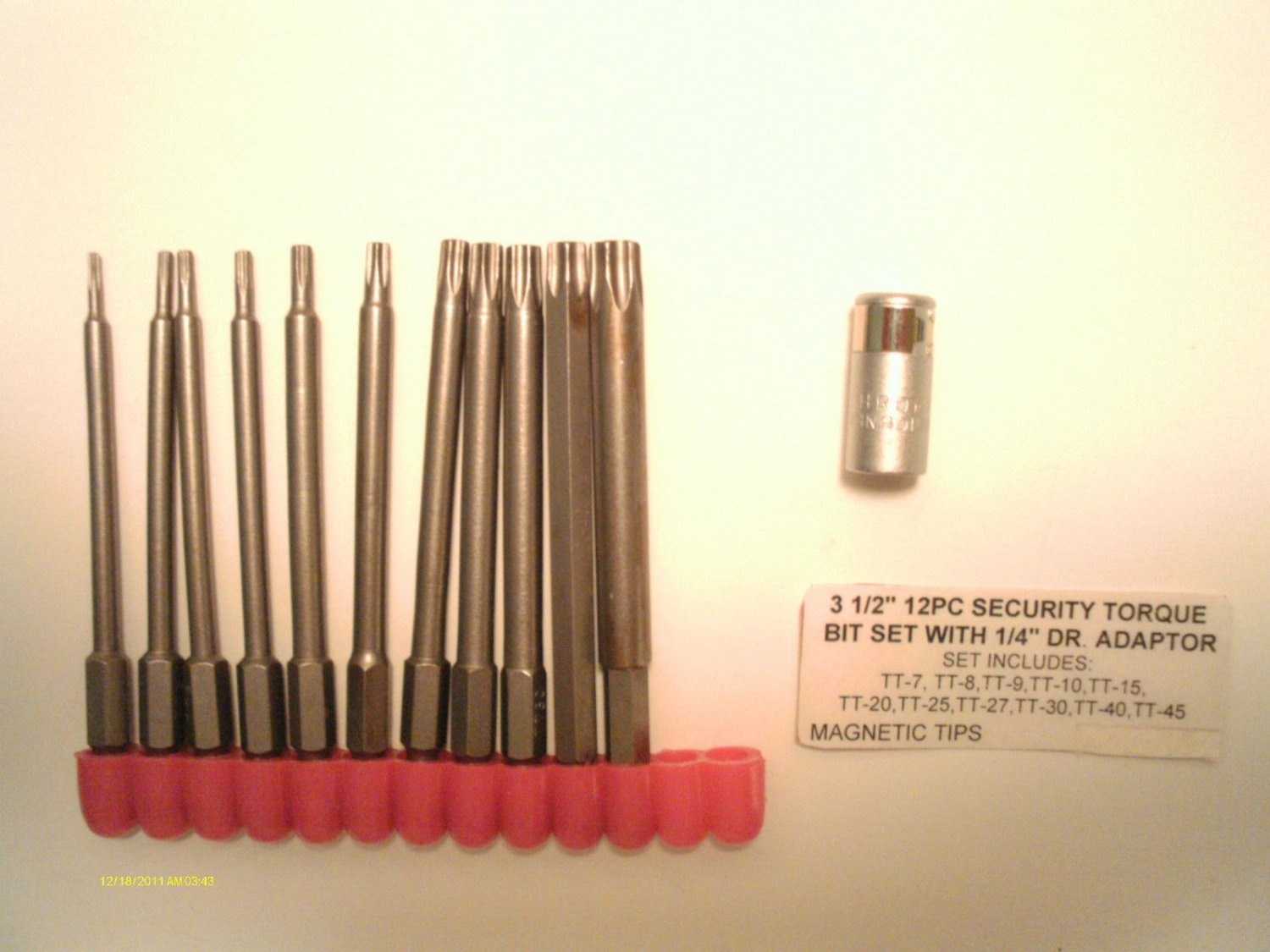 "3 1/2"" MAGNETIC 12pc SECURITY TORX BIT SET 7-8-9-10-15-20-25-27-30-40-45"