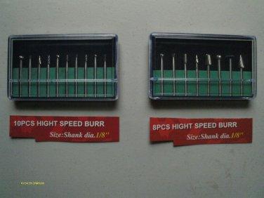 18 pcs HIGH SPEED STEEL BURR SET 1/8 inch SHANK/ARBOR NEW plastic case