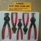 "5 PIECE SNAP RING PLIER SET 5 1/2"" & 7 1/2"" 90 degree offset tips NEW sealed"