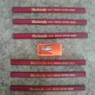 6 FLAT CARPENTER PENCIL & orange SHARPENER ENGLAND PATTERN MEDIUM BLACKANGLE 218