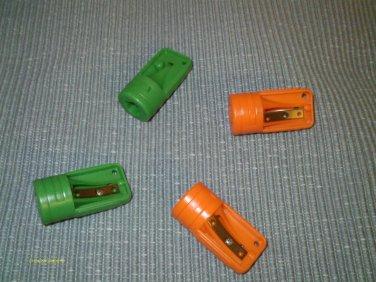 4 PLASTIC CARPENTER PENCIL SHARPENERS (2) ORANGE & (2) GREEN  NEW