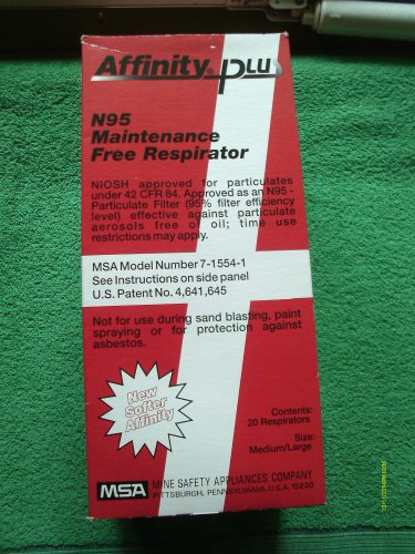 20 PCS MSA MAINTENANCE FREE RESPIRATORS N95 ITEM # 7-1554-1 NIOSH APPROVED NEW