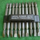 "10 pieces DOUBLE END POWER BIT w/PLASTIC HOLDER 3 1/2 inch LONG #2ph X 1/4"" NEW"