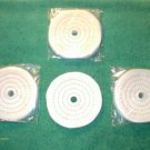 "(4) 4"" DIAMETER 1/2"" THICK COTTON polishing BUFFING WHEELS 1/2"" ARBOR HOLE NEW"