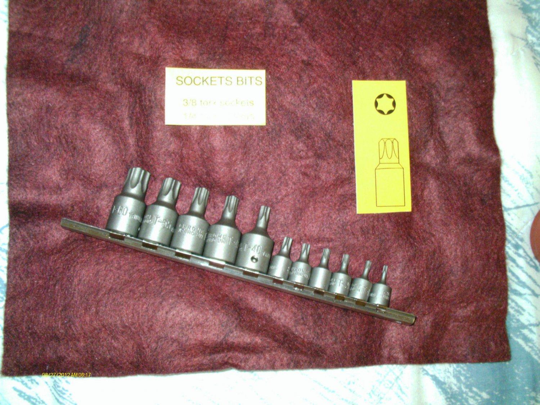11 piece TORX BIT SET 1/4 & 3/8 DRIVE T-10-15-20-25-27-30-40-45-50-55-60 W/RACK
