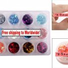12 Bottles Mix Colors Iridescent Sticker for Acrylic / UV Gel + Free shipping!