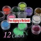 12 x Glitter Powder Dust for Nail Art + Free shipping!