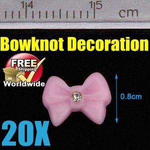 20x Pink Bowknot 3D Acrylic Nail BG+ Free shipping to worldwide!