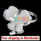 Ring Sweet Butterfly Flower Clear Crystal Rhinestone Adjustable + Free shipping to worldwide!