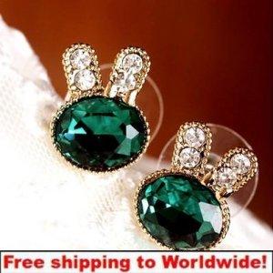Earrings Lovely Alloy Crystal Rabbit Head Ear Stud Jewelry + Free shipping to worldwide!