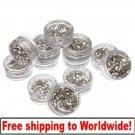 12 Small Box Silver Nail Art Powder Decoration Glitter BG+ Free shipping to worldwide!