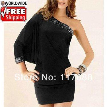 Fashion Black One-Shoulder evening dress +  Free shipping to worldwide!
