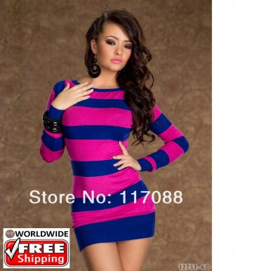 Hot Colored Strips Dress Blue and Pink Sexy Mini Dress + Free shipping to worldwide!