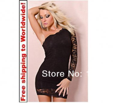 Black Lace One Shoulder Sexy Dress + Free shipping to worldwide!