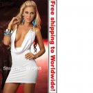 White Halter Dress Plunging Cowl Bodice Mini Dress+ Free shipping to worldwide!