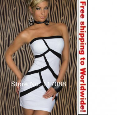 White Color Off Shoulder Cute Strapless Sexy Mini Dress+ Free shipping to worldwide!