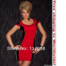 Red and Black Stunnig Cinched Front Club Dress+ Free shipping to worldwide!