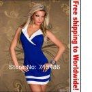 Blue Sexy V-neck Fashion Charming Clubwear dress+ Free shipping to worldwide!