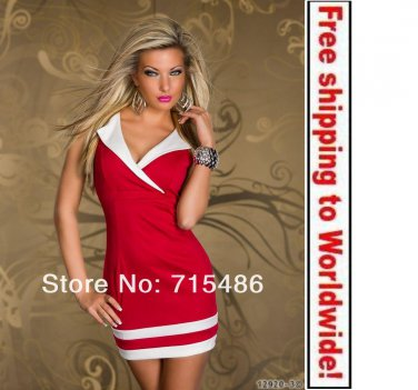 Rose Color Sexy V-neck Fashion Charming Clubwear dress+ Free shipping to worldwide!