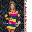 Yellow and Pink and Blue Mini dress+ Free shipping to worldwide!