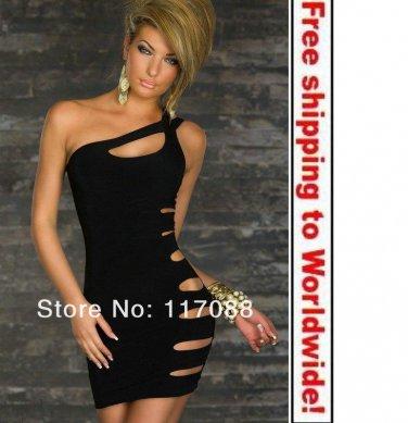 Black Lovely Skiny Tube Cut Out Fashion Mini Dress+ Free shipping to worldwide!