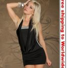 Black Lovely Neck Cut Back Outfit Fashion Mini Dress+ Free shipping to worldwide!