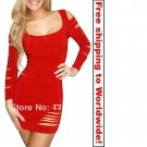 Red Women Leisure Party Mini Dress+ Free shipping to worldwide!