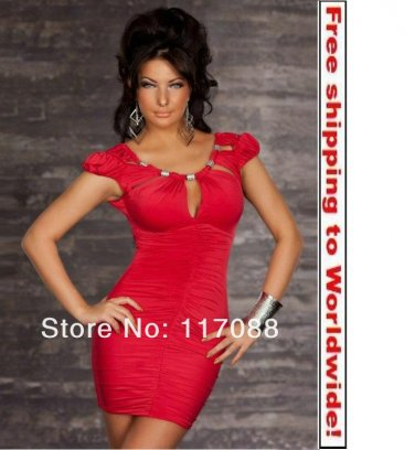 Red Stunnig Cinched Front Clubwear cocktail dress+ Free shipping to worldwide!