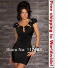 Black Stunnig Cinched Front Clubwear + Free shipping to worldwide!