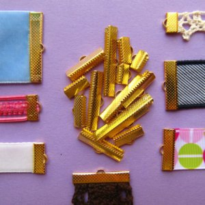 Gold Ribbon Clamps Ribbon Crimp Ends Shipped from USA