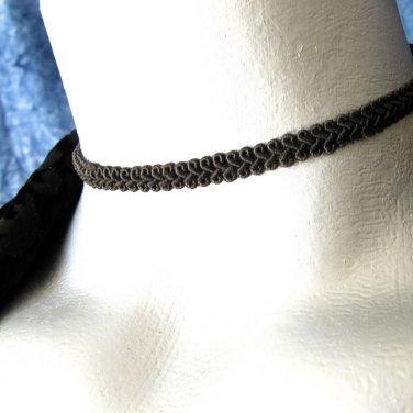Thin Black Swirl Trim Ribbon Choker Necklace -- Hand Made in USA