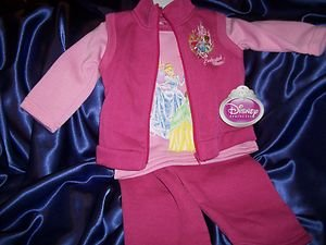 DISNEY PRINCESSES 3pc Fleece Pant Set  Size 2T NWT