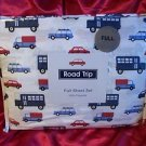 ROAD TRIP FULL 4PC SHEET SET CARS  WHITE RED BLUE 100% POLYESTER NIP