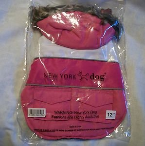 "NEW YORK DOG 12"" SMALL PINK AND WHITE DOWN COAT WITH HOOD & BACK POCKETS  NWT"