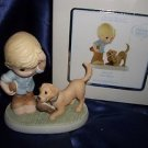 "PRECIOUS MOMENTS ""SOLE MATE"" PORCELAIN FIGURINE BOY DOG SHOES NIB"