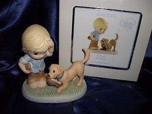 "PRECIOUS MOMENTS ""SOLE MATE"" PORCELAIN FIGURINE BOY DOG SHOES NIB"