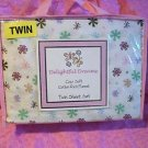 DELIGHTFUL DREAMS SNOWFLAKE TWIN SHEET SET COTTON RICH  NIP