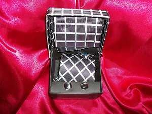Alexander Julian Colours Handmade Woven Black Grey Tie w/ Hanky & Cuff L LinkNIB