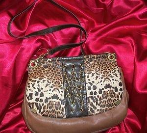 Jessica Simpson  Leopard Cheetah Smash Hit Walnut/Gold  Handbag RETAIL 88.00