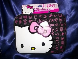 "Hello Kitty 12"" Netbook Sleeve Black Pink White Water Resistant Neoprene  NWT"